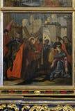 Jesus wird sein Kreuz gegeben stockfotos
