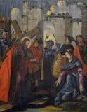 Jesus wird sein Kreuz gegeben stockbilder