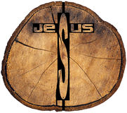 Jesus wooden Cross on Tree Trunk Royalty Free Stock Image