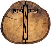 Jesus wooden Cross on Tree Trunk Royalty Free Stock Image