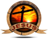 Jesus - Wooden Icon with Cross Royalty Free Stock Photography