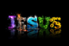 Jesus word art. With colorful pictures of creation stock photography