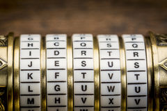 Jesus word as password. Jesus  word as a password to combination puzzle box with rings of letters Stock Photography