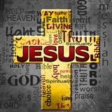 Jesus word cloud,  Easter grunge background Royalty Free Stock Photos