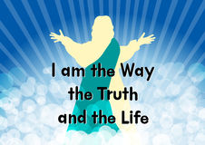 Jesus with the word I am the way the truth and the life Royalty Free Stock Images