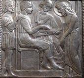Jesus wordt veroordeeld aan dood, Pontius Pilate-wassen zijn handen stock afbeelding