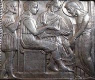Jesus wordt veroordeeld aan dood, Pontius Pilate-wassen zijn handen royalty-vrije stock fotografie