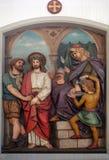 Jesus wordt veroordeeld aan dood, 1st Posten van het Kruis stock afbeeldingen