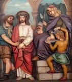 Jesus wordt veroordeeld aan dood, 1st Posten van het Kruis Stock Afbeelding
