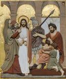 Jesus wordt veroordeeld aan dood, 1st Posten van het Kruis Royalty-vrije Stock Foto's