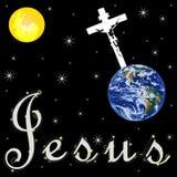 Jesus and world. White jesus and blue world  on black background Royalty Free Stock Photography