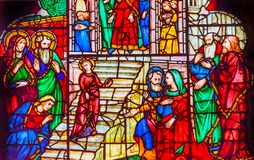 Jesus Youth Temple Stained Glass Orsanmichele kyrka Florence Italy Royaltyfri Fotografi