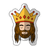 Jesuschrist with crown character religious icon. Vector illustration design Royalty Free Stock Image