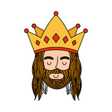 Jesuschrist with crown character religious icon. Vector illustration design Stock Photos