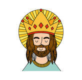 Jesuschrist with crown character religious icon. Vector illustration design Stock Photo