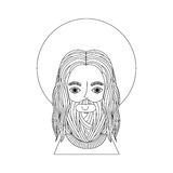 Jesuschrist with halo character religious icon. Vector illustration design Royalty Free Stock Photography