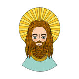 Jesuschrist with halo character religious icon. Vector illustration design stock illustration