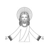 Jesuschrist with halo character religious icon. Vector illustration design Royalty Free Stock Photos
