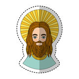 Jesuschrist with halo character religious icon. Vector illustration design Royalty Free Stock Image