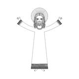 Jesuschrist with halo character religious icon. Vector illustration design Royalty Free Stock Photo