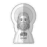 Jesuschrist with halo character religious icon. Vector illustration design Stock Image
