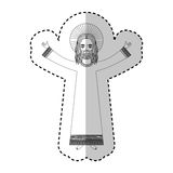 Jesuschrist with halo character religious icon. Vector illustration design Stock Photo