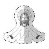 Jesuschrist with halo character religious icon. Vector illustration design Stock Images