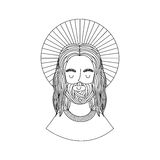 Jesuschrist with halo character religious icon. Vector illustration design Stock Photography