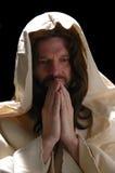 jesusin纵向祷告 库存照片