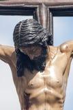 Jesuss död på korset, helig vecka i Seville, brödraskap av studenter Royaltyfri Foto