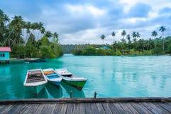 Jetée chez Labuan Cermin, Indonésie Images stock