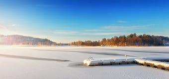 Jetée dans un horizontal de l'hiver Image stock