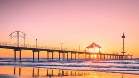 Jetée de Brighton Beach au coucher du soleil photos libres de droits