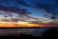 Jetée de coucher du soleil Photographie stock