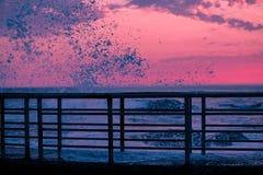 Jetée de coucher du soleil Images libres de droits