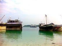 Jetée de Havelock, îles d'Andaman, Inde Photos stock