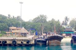 Jetée de Havelock, îles d'Andaman, Inde Images stock