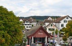 Jetée de Stafa, lac Zurich Photos stock