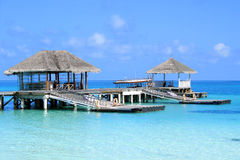 Jetée en Maldives Photos stock