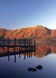 Jetée givrée, Derwentwater, Cumbria Photos libres de droits