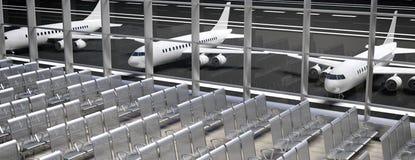 Jet über dem tropischen Meer Leere Wartesitze im Flughafenabfertigungsgebäude, Fahne Abbildung 3D lizenzfreie abbildung