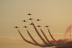 Jet. Red arrows formation fly at air show in Quebec royalty free stock images