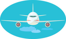 Jet. The jet plane flying over clouds. a vector illustration Stock Photography