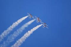 Jet aerobatic team. Canadian Snowbirds jet aerobatic team flying CT-114 tutor jet airplanes Stock Photo