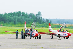 Jet aerobatic  team TS-11 Iskra - in service. Royalty Free Stock Image