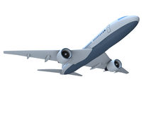 Jet aircraft. 3D model of flying passenger aircraft isolated on white background Stock Photo