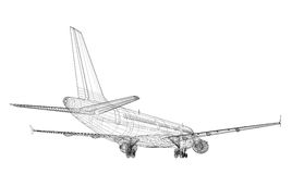 Jet Aircraft. In CAD Wireframe Royalty Free Stock Image