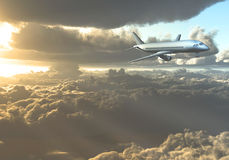 Jet Aircraft between clouds Royalty Free Stock Photo