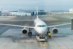 Jet aircraft docked in Airport Royalty Free Stock Photo