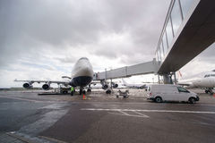 Jet aircraft in Domodedovo airport Stock Photography